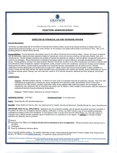 Director of Financial Aid and Veterans Affairs May 28, 2015