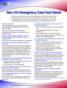 Non- VA Emergency Care Fact Sheet