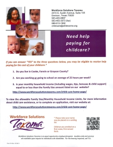 Texoma Need Help With Child Care May 2015