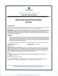 Veterans Affairs Admin Asst. May 28, 2015