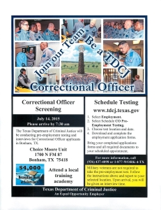 TDCJ  Corrections Officer July 2015