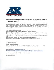 Alan Ritchey Inc. 8.18.15 Diesel Mechanic