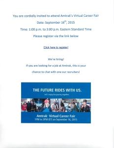 Amtrack Virtual Career Fair Sept 16 2015