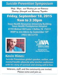 Suicide Prevention Symposium Spet 18, 2015 Dallas, TX