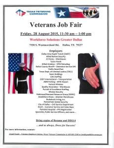 Veterans Job Fair Aug 28, 2015 Dallas, TX