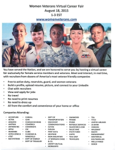 Women Veterans Virtual Career Fair 8.18.15 1-3 ET