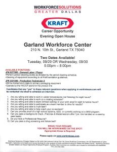 Kraft Career Opportunity Event 9.29.15  9.30.15 Garland TX