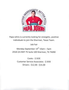 Papa John's Sherman, TXX