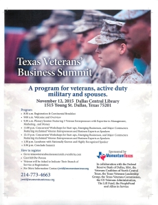 Texas Veterans Business Summit Nov 12 2015 Dallas TX