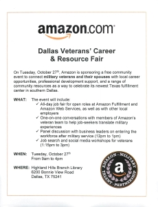 Amazon Dallas Career Fair Oct 27 2015