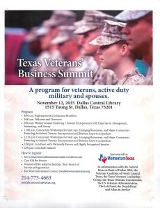Texas Veterans Business Summit Dallas TX Nov 12 2015