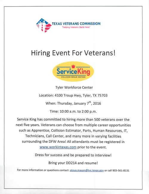 Service King Tyler, TX Hiring Event