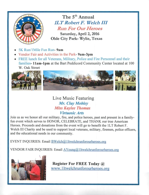 5th Annual Run For Our Heroes Wylie TX April 2 2016