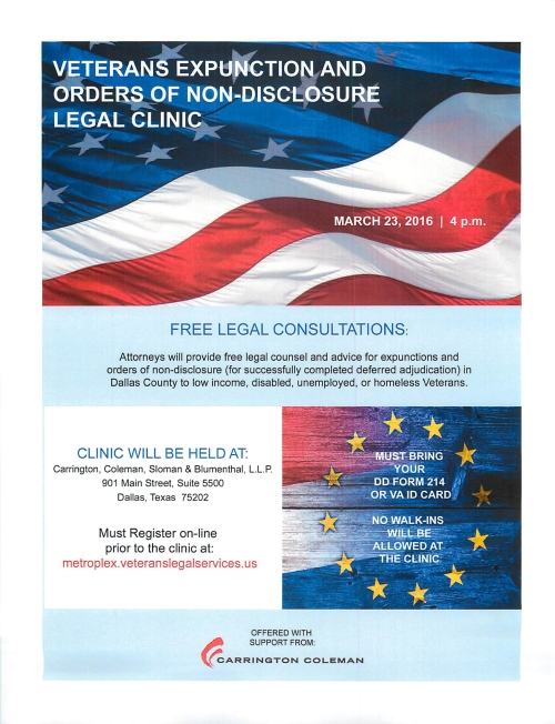 Dallas TX March 23 2016 Veterans Expunction and Orders Discloser Legal Clinic