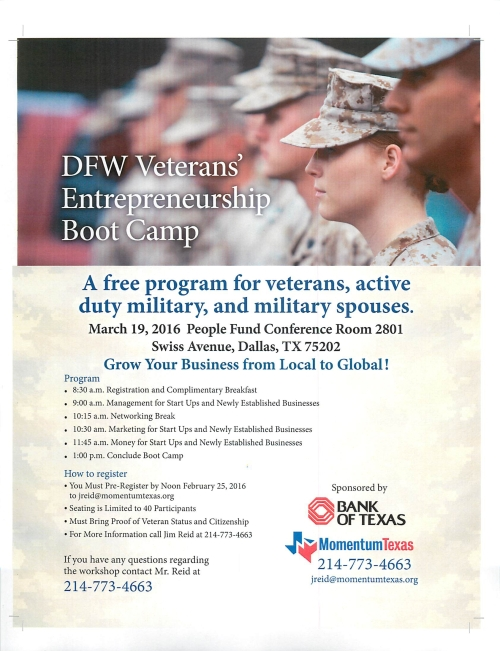 DFW Veterans Entrepreneurship Boot Camp March 19 2016