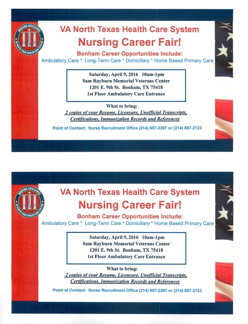 VA Bonham RNs Career Fair April 9 2016