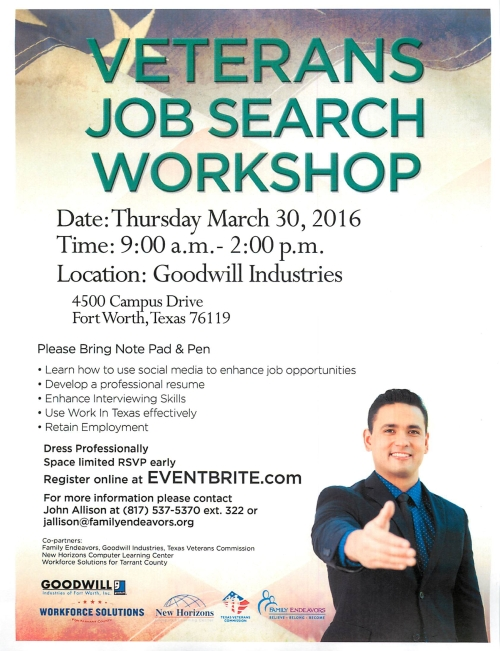 Veterans Job Search Workshop March 30 2016 Fort Worth