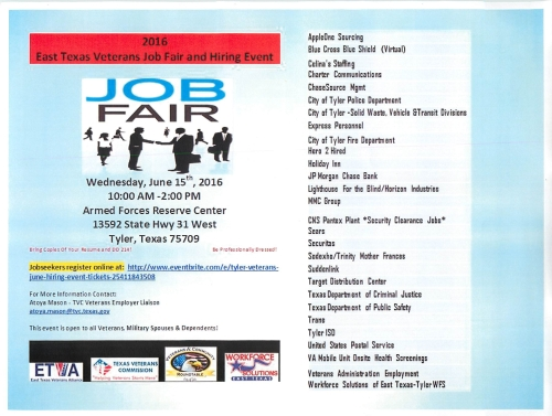 East Texas Veterans Job Fair and Hiring Event June 15 2016 Tyler TX