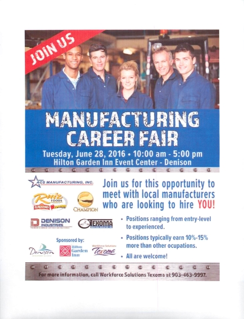 Manufacturing Career Fair Denison TX June 28 2016